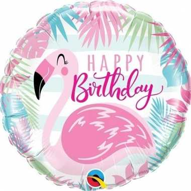 Helium ballon flamingo happy birthday 45 cm
