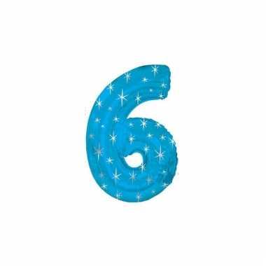 Helium cijfer ballon blauw 6 jaar