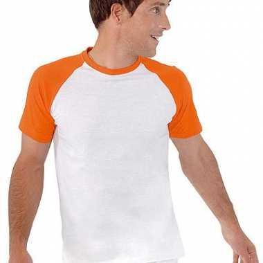 Heren baseball shirt wit/oranje