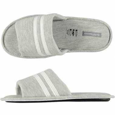 Heren instap slippers grijs/wit gestreept