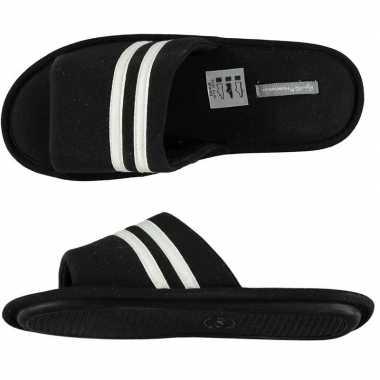 Heren instap slippers zwart/wit gestreept