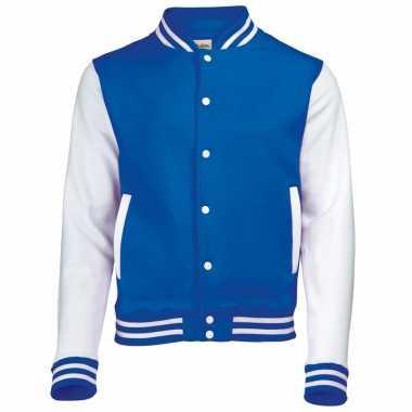 Heren jas in blauw wit