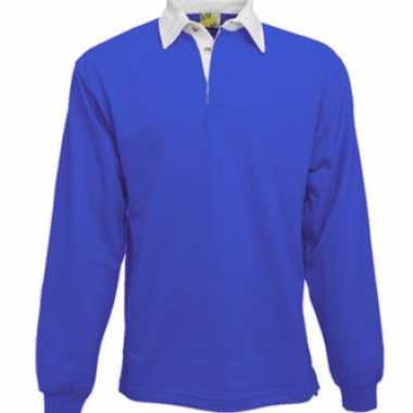 Heren kobalt rugbyshirt met witte kraag