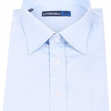Heren overhemd licht blauw met korte mouwen