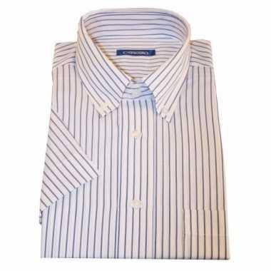 Heren overhemd wit gestreept met korte mouwen