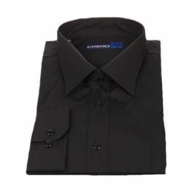 Heren overhemd zwart met korte mouwen
