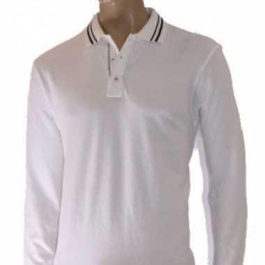 Heren polo in de kleur wit met navy