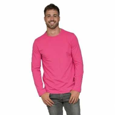 Heren shirt fuchsia long sleeve stretch
