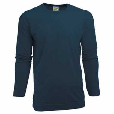 Heren shirt navy long sleeve stretch