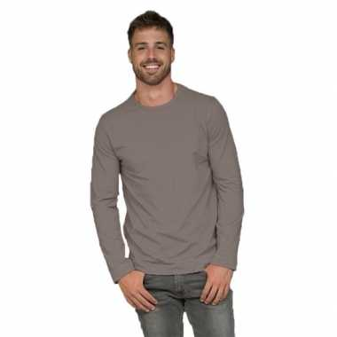 Heren shirt zilvergrijs long sleeve stretch