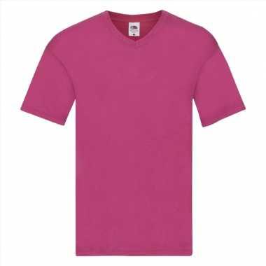 Heren t-shirt met v-hals fuchsia