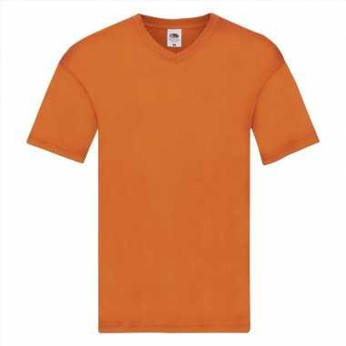 Heren t-shirt met v-hals oranje