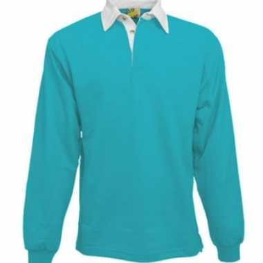 Heren turquoise rugbyshirt met witte kraag