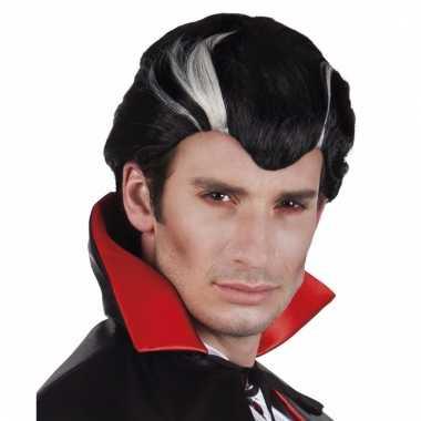 Herenpruik vampier zwart/wit