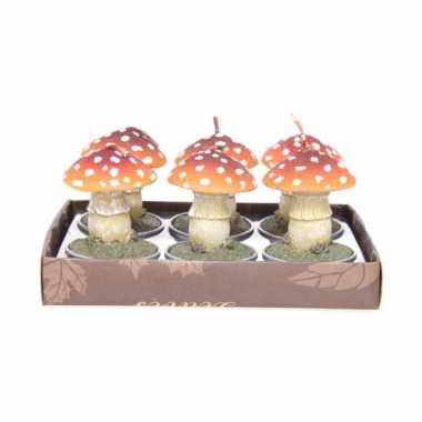 Herfst kaarsjes paddenstoel 6x
