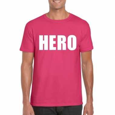 Hero tekst t-shirt roze heren