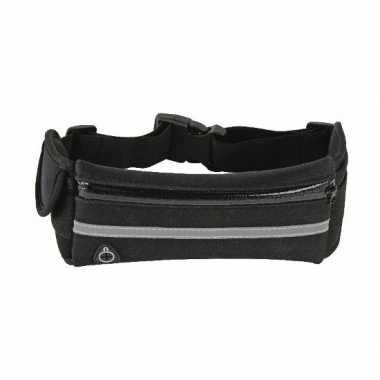 Heuptasje/buideltasje zwart met vakje voor mobiel 36 cm