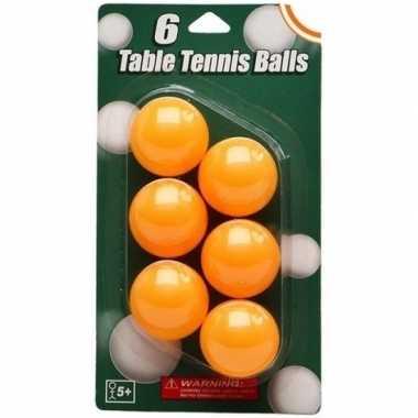 High visible pingpong balletjes oranje 6 stuks