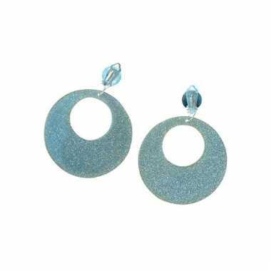 Hippie oorbellen met glitter zilver