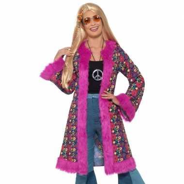 Hippie peace pluche jas voor dames