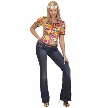 Hippie shirt dames met bloemen