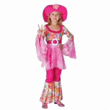 Hippie thema kostuum voor meisjes roze