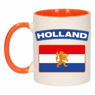 Holland vlag mok/ beker oranje wit 300 ml
