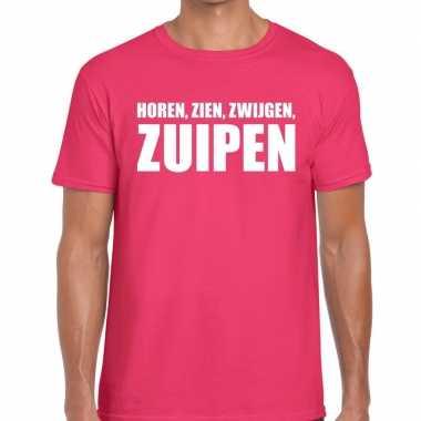 Horen zien zwijgen zuipen t-shirt roze heren