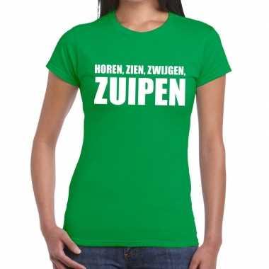 Horen zien zwijgen zuipen tekst t-shirt groen dames