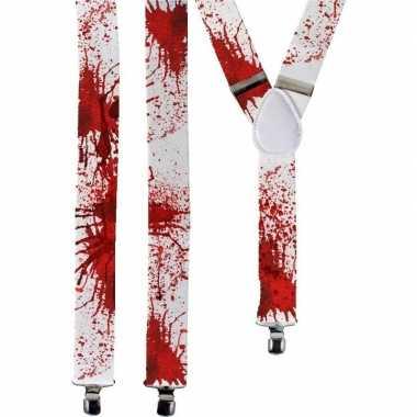 Horror witte verkleed bretels met bloed spetters voor volwassenen
