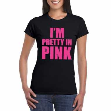 I am pretty in pink shirt zwart dames