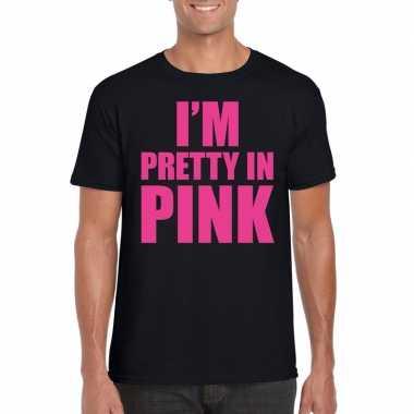 I am pretty in pink shirt zwart heren