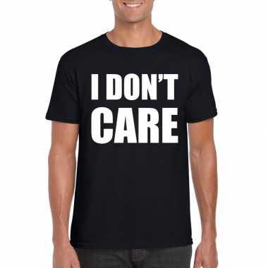 I dont care tekst t-shirt zwart heren