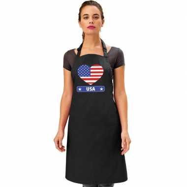 I love amerika keukenschort/ barbecueschort zwart volwassenen
