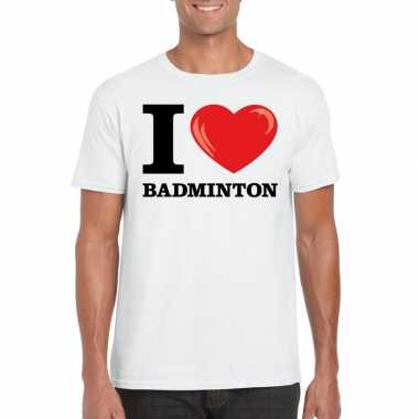 I love badminton t-shirt wit heren