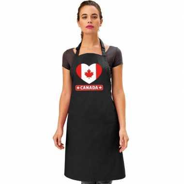 I love canada keukenschort/ barbecueschort zwart volwassenen