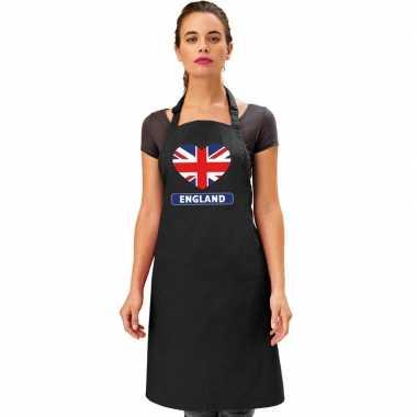 I love engeland keukenschort/ barbecueschort zwart volwassenen