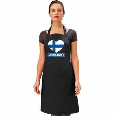 I love finland keukenschort/ barbecueschort zwart volwassenen
