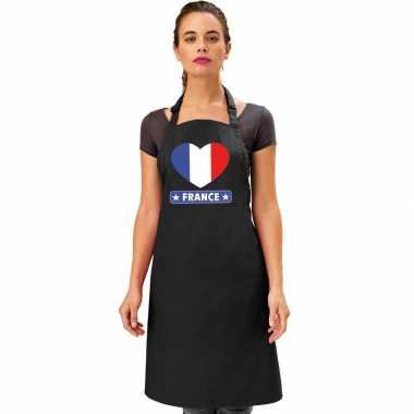 I love frankrijk keukenschort/ barbecueschort zwart volwassenen