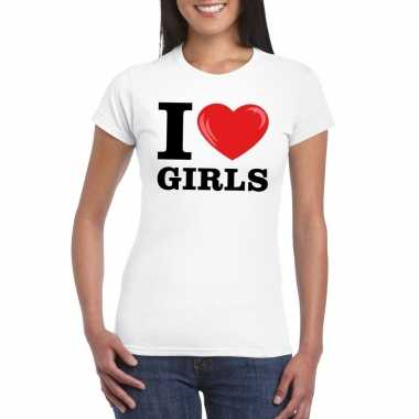 I love girls t-shirt wit dames