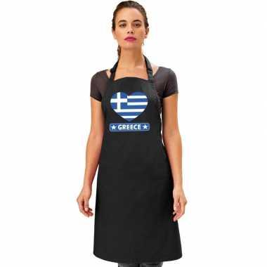 I love griekenland keukenschort/ barbecueschort zwart volwassenen