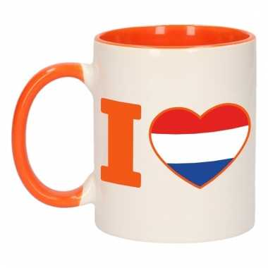 I love holland mok/ beker oranje wit 300 ml