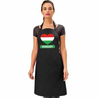 I love hongarije keukenschort/ barbecueschort zwart volwassenen