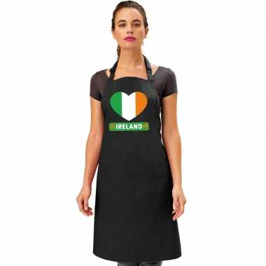 I love ierland keukenschort/ barbecueschort zwart volwassenen