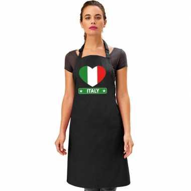 I love italie keukenschort/ barbecueschort zwart volwassenen