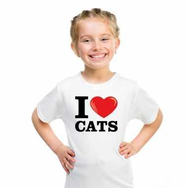 I love katten t-shirt wit jongens en meisjes