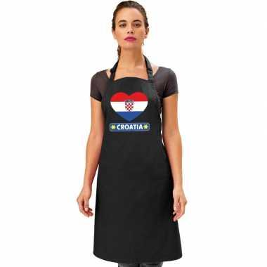 I love kroatie keukenschort/ barbecueschort zwart volwassenen