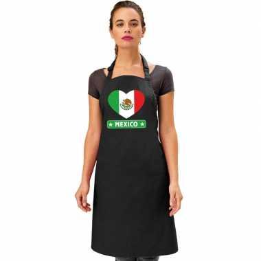 I love mexico keukenschort/ barbecueschort zwart volwassenen