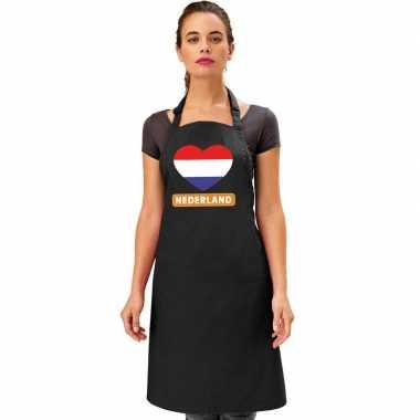 I love nederland keukenschort/ barbecueschort zwart volwassenen