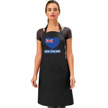 I love nieuw-zeeland keukenschort/ barbecueschort zwart volwassenen